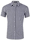 XI PENG Men's Casual Cotton Plaid Checkered Gingham Short Sleeve Dress Shirts (Black White Checkered, Large)