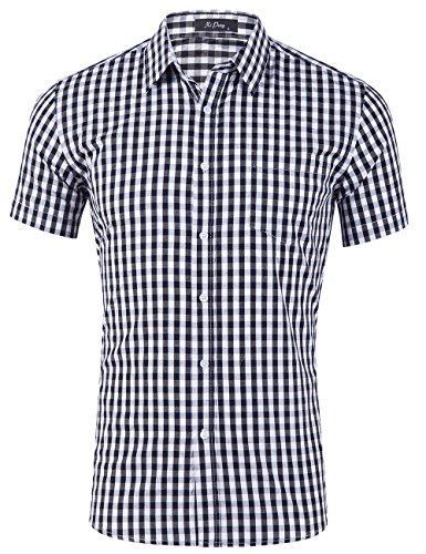 XI PENG Men's Casual Cotton Plaid Checkered Gingham Short Sleeve Dress Shirts (Black White Checkered, Medium)