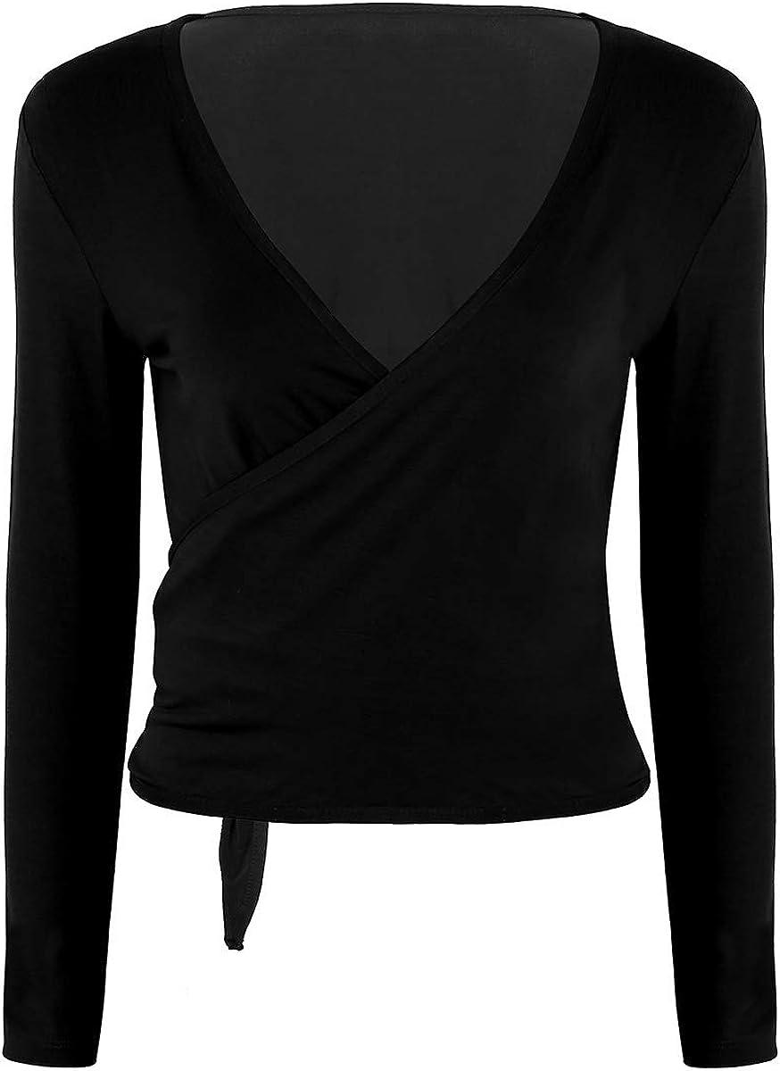 inhzoy Women's Soft Long Sleeves Open Front Ballet Dance Tie Wrap Cardigan Tops Shrug Sweater