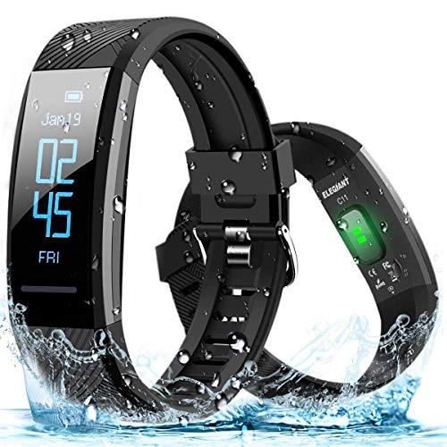 ELEGIANT Fitness Tracker, Orologio Braccialetto Fitness Bluetooth Impermeabile IP67 per iPhone XS Max XR x 8 7 6s iPad Samsung Galaxy s10 s9+ S8 S8+ S7 S6 Huawei P20 P30 Mate PRO Lite 10 HTC LG