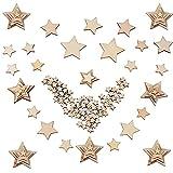300 Piezas Madera Rebanadas de Estrellas para Decoración de Boda Manualidades Adornos Artesanales DIY 4 Tamaños 10mm, 20mm, 30mm, 40mm