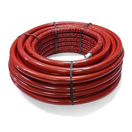 Pipetec Aluverbundrohr Aluminium Mehrschichtverbundrohr 16x2 mm 10mm rot 50m Isolierung PEX Mehrschicht-Verbundrohr MV-Rohr Mehrschichtrohr Heizung Wasser