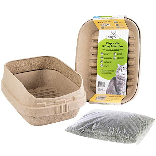 Kitty Sift Disposable Plastic Free Sifting Litter Box and Liner PLUS PROBIOTIC Litter, Large 8 Layer Set, 13.8 x 17.8 x 8.5, 7 Sifting Trays, 1 Base Tray and High Shield Lid, Recycled Cardboard, Waterproof Coating