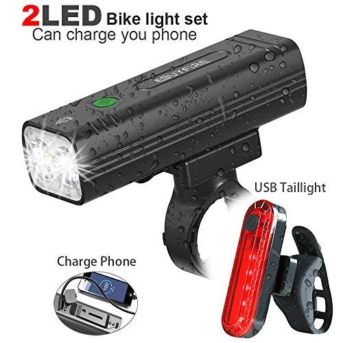EBUYFIRE Luz Bicicleta Recargable USB, 2000 Lúmenes LED Luces Bicicleta Delantera y Trasera, 3 Modos, IPX5 Impermeable Luces Seguridad para Ciclismo de Montaña y Carretera