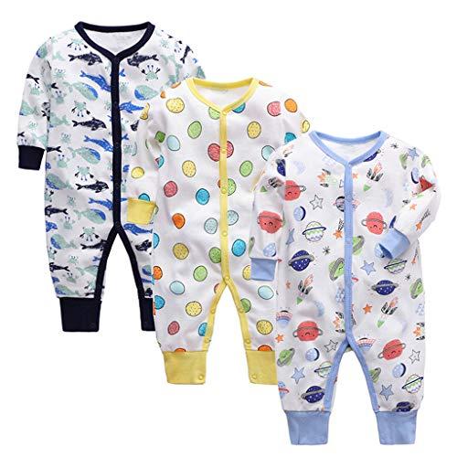 3 Piezas Bebé Mono Mameluco de Manga Larga Niños Niñas Body Peleles Pijama Regalo de Recien Nacido 0-3 Meses