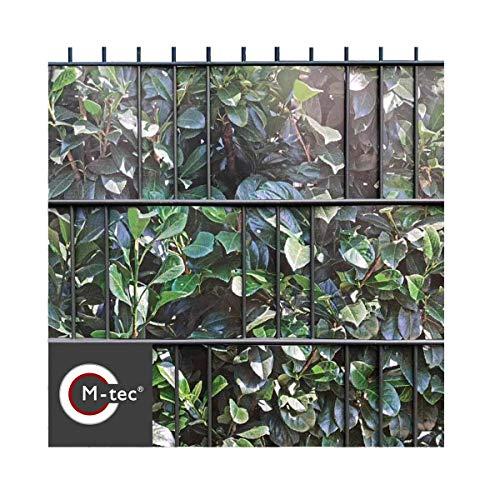 M-tec Print® Hart-PVC | Formstabile Sichtschutzstreifen mit Motiv - Kirschlorbeer ✔ für 3 Reihen im Zaunfeld ✔ M-tec Marktneuheit 2018 ✔ - SIE KAUFEN Hier DIREKT BEIM Hersteller –
