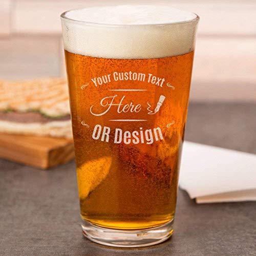 Personalized Beer Glass 16 Oz, Custom Beer Mug for Men, Engraved Pint Glasses