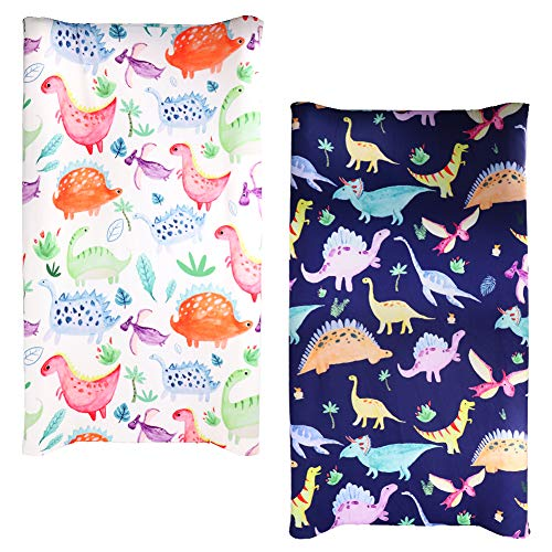 2PACK Dinosaur Changing Pad Cover for Boys and Girls Twins Diaper Changing Table Pad Cover Sheets for Newborn Washable Soft Breathable
