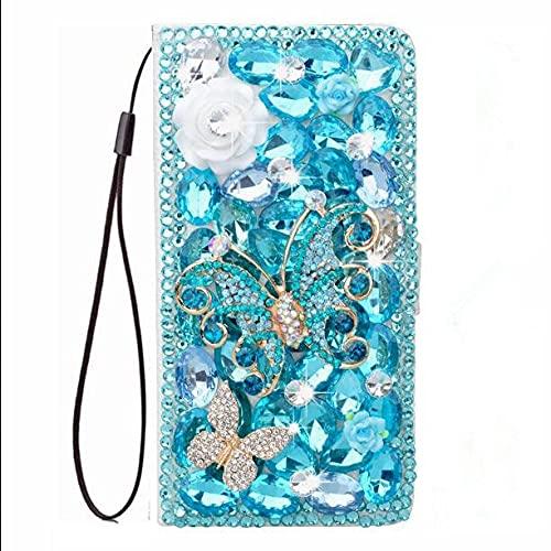3D Blue Butterfly Flower Crystal Diamond Flip Funda de Cuero con Tapa Capa para iPhone 6 6s 7 8 Plus x XS XR XS MAX 11 Pro MAX, Azul Cielo, para iPhone X XS