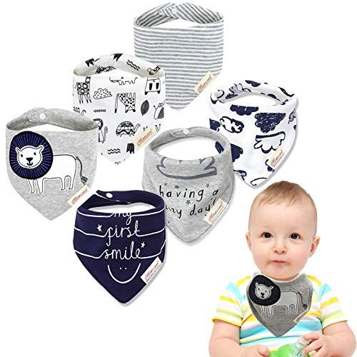 Baogaier Baby Dreieckstuch Lätzchen 6 Set Double Layer Bio Baumwolle Spucktuch Halstücher Saugfähig Drool Neugeborene Lätzchen mit 2 Verstellbares Druckknopf für Kleinkind Jungen (Löwe &'Lächeln')