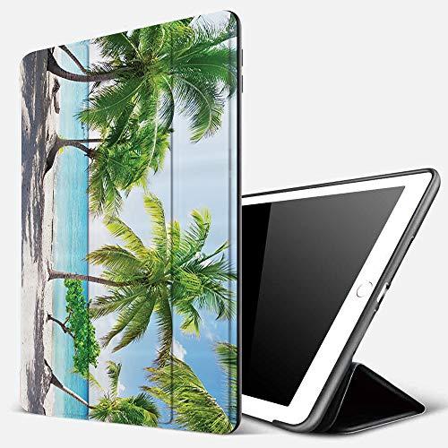 Funda iPad 10.2 Inch 2018/2019,Palmera de Playa, Hojas de Palmera y Costa de la Isla de Catalina, Imagen panorámica Costera, Cielo Azul Tierra ama,Cubierta Trasera Delgada Smart Auto Wake/Sleep