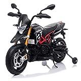 TOBBI 12V Kids Ride-On Motorcycle ,Aprilia Licensed Battery Powered Dirt Bikes for Kids w/ Training Wheels, Spring Suspension, Lights, Music Story USB MP3(Black)