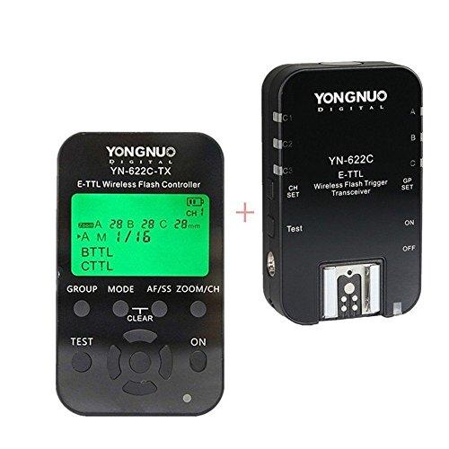 YONGNUO YN622C-KIT - Kit di innesco flash E-TTL wireless con schermo a LED per Canon tra cui 1 controller YN622C-TX e 1 ricetrasmettitore YN622 C