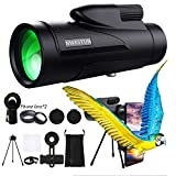 12x50 Bird Watching Monocular Telescope - High Definition Monocular for Adults with Wide Angle & Macro, Tripod & Smartphone Holder Waterproof Monocular Scope for Hiking for Man