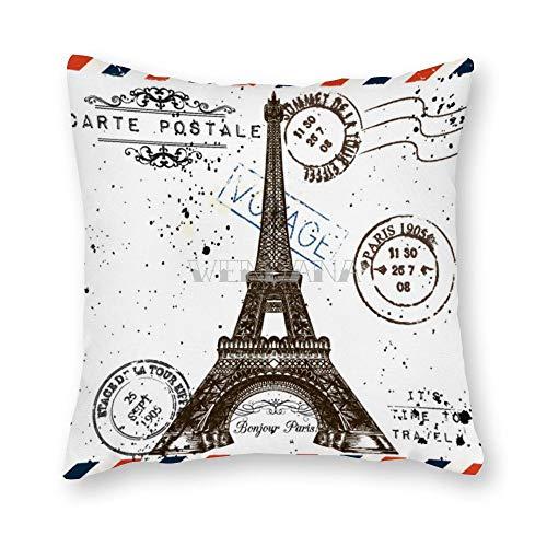 happygoluck1y Bonjour Paris - Funda de cojín decorativa para decoración del hogar, sofá, sofá, sofá, coche, diseño vintage
