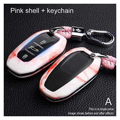 Essinged Cubierta de Llave del Coche Caja de Claves remotos ABS Car para Citroen C4 C5 para Peugeot 301 308 308S 408 2008 3008 4008 5008 2017 2018 2018 2019 Accesorios Llavero (Color Name : A Pink)