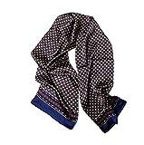 UK_Stone - Pañuelo para hombre, 100% seda, diseño vintage, para hombre Diseño de flores a cuadros, color azul oscuro. Talla única