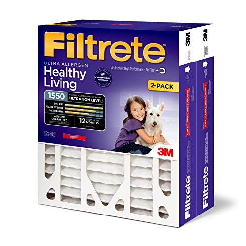 Filtrete Healthy Living Ultra Allergen Deep Pleat HVAC Air Filter, Uncompromised Airflow, MPR 1550, 20 x 25 x 4 (3-3/4 Actual Depth), 2-Pack