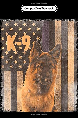 Composition Notebook: Thin Blue Line Flag K9 Vintage German Shepherd Police Journal/Notebook Blank Lined Ruled 6x9 100 Pages