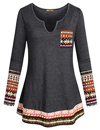 Miusey Peasant Tops for Women, Ladies Petite Trapeze Long Sleeve Jersey V Neck Henley Sexy Knit Tee Boho Chic Clothing Female Print Floral Blouses Office Slim Fit Tunic with Patchwork Hem Black M