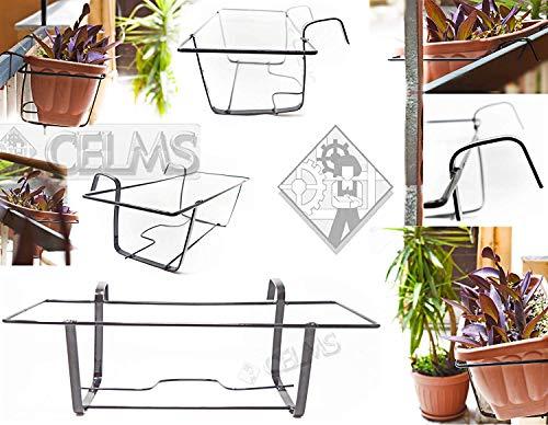 BALCONIERA PortaVaso Fiori FIORIERA Made in Italy per Balcone in Ferro Verniciata Colore Nero Porta Vaso Fisso Linea Industrial Minimal LINEARE Semplice (40)
