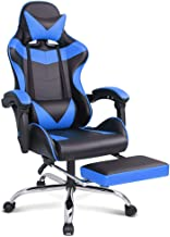 Gaming Racing Chair Executive Sport Office Chair with Footrest PU Leather Armrest Headrest Home Chair in Blue Colour