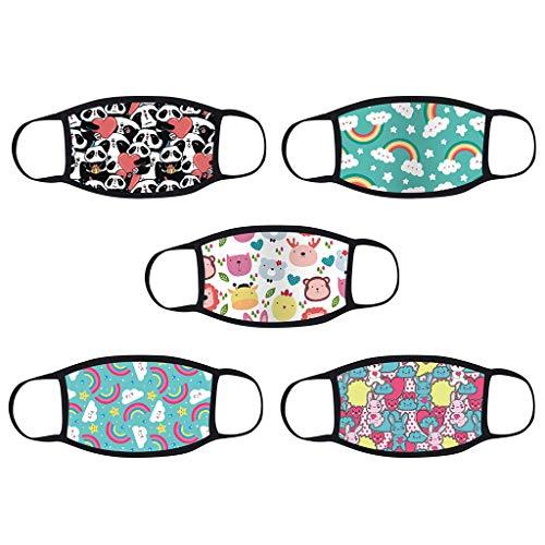 5 Stück Kinder-Mundschutz mit motiv Einfarbig/Cartoon Druck,Waschbar Wiederverwendbar,Baumwolle Stoff Atmungsaktiv,Gesichtsschutz Halstuch Für Jungen Mädchen - 3