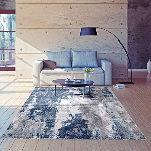 Luxe Weavers Euston Blue 9 x 12 Abstract Modern Area Rug 7681…