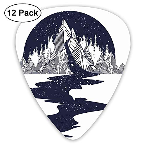 Guitar Picks12pcs Plectrum (0.46mm-0.96mm), River Of Stars Pouring Down From A Mountain Fantastic Landscape,For Your Guitar or Ukulele