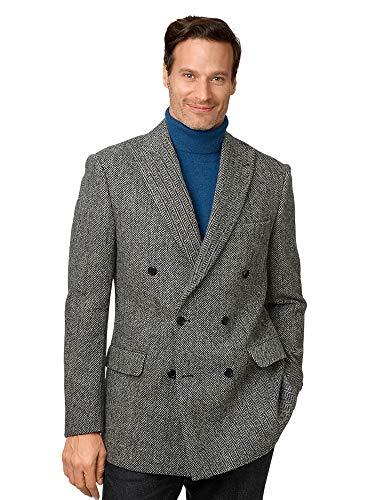 Paul Fredrick Men's Classic Fit Harris Tweed Double Breasted Sport Coat Black/Grey 42 Short JHQ100D
