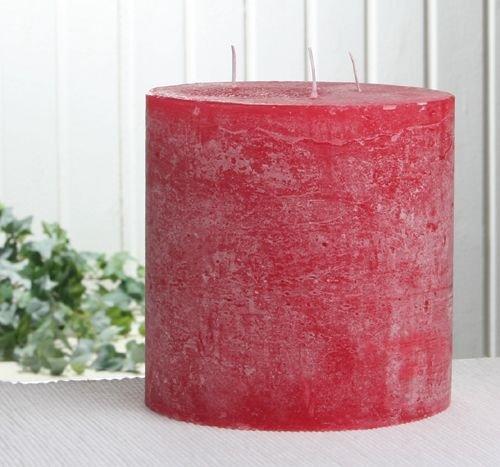 Rustik-Dreidochtkerze, 15 x 15 cm Ø, rot