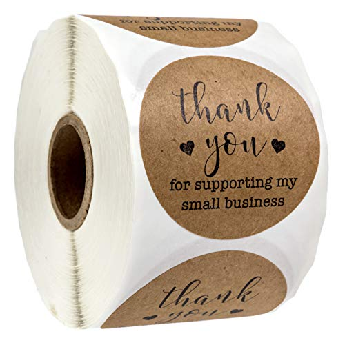 2 Inch Round Kraft Thank You for Supporting My Small Business Stickers / 500 Labels Per Roll