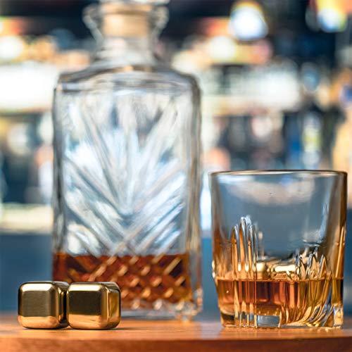KOBERT GOODS - 4 Whisky-Steine in Farbe Edelstahl Eckig - wiederverwendbare Kühlsteine aus echtem Speckstein od. gebürstetem Edelstahl - Eiswürfelersatz (eckig/ oval) für perfekte Kühlung ohne Verwässerung - mit Stoffbeutel - 2