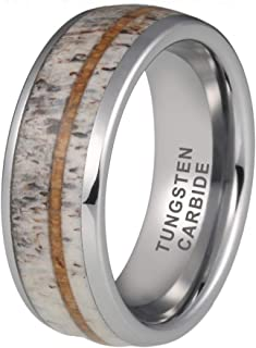 iTungsten 8mm Silver/Rose Gold Tungsten Rings for Men Women Wedding Bands Deer Antler Koa Wood Turquoise Meteorite Inlay Domed Polished Shiny Comfort Fit