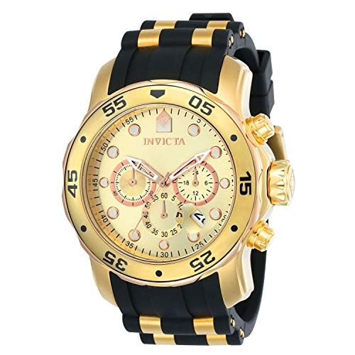 Invicta Men's Pro Diver Scuba 48mm Gold Tone Stainless Steel Chronograph Quartz Watch with Black Silicone Band, Black/Gold (Model: 17884)