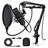 USB Condenser Microphone for Computer, Plug & Play 192KHZ/24BIT Cardioid Studio Mic for PC, Streaming Podcast Microphone with Stand, Professional Sound Chipset for Recording, Gaming, YouTube, Singing