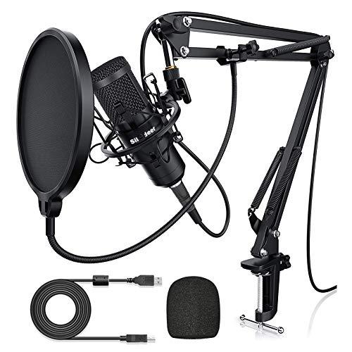 Micrófono de condensador USB, kit de micrófono profesional mejorado de 192 KHZ/24 bits para ordenador, micrófono de podcast de streaming, micrófono de estudio de grabación de canto, micrófono cardioide con brazo de plug&Play, juegos de YouTube