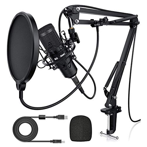 USB Condenser Microphone for Computer, Plug & Play 192KHZ/24BIT Cardioid Studio Mic, Streaming Podcast PC Microphone Kit with Arm Stand, Professional Singing Microphone for Recording, YouTube, Gaming