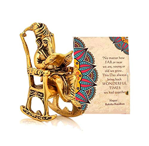 Ganesha on Chair Idol Showpiece with Gift Card Gifts for Brother Sister Family Friends, Diwali Decoration Items, Diwali Gifts for Corporate & Friends