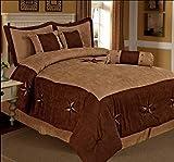 Western Peak 7 Pcs Western Comforter Luxury Lodge Oversize Brown Western Star Micro Suede (Queen)