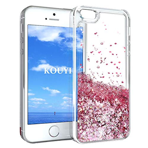 KOUYI Cover iPhone 5/5S/SE, 3D Glitter Chiaro Liquido Silicone TPU Telefono Cellulari Protezione Cover,3D Bling Protettiva Case Custodia per Apple iPhone 5/iPhone 5S/iPhone SE (Oro Rosa)
