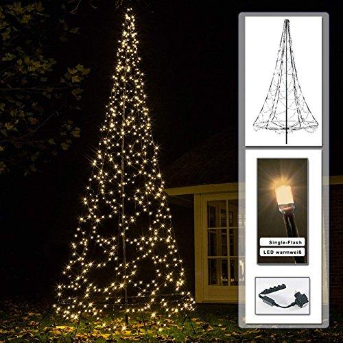 Albero di Natale sintetico 4,2 m con illuminazione 640 LED a luce bianca calda Single Flash
