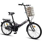 FYHCY Bicicleta Plegable Bicicleta Ciudad Plegable, portátil Ultraligera, Estilo Retro Bicicleta Trekking Plegable Bicicleta Ligera, Hombres Mujeres Adultos Excursión Aire Libre Black,16 Inches
