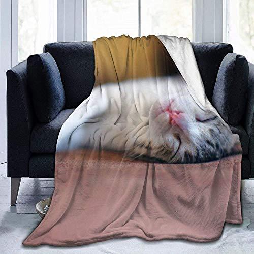 Manta de Tiro Kawaii Sleeping Cat Manta de Microfibra Ultra Suave Manta de Cama súper Suave y acogedora para Cama Sofá Sofá Sala de Estar Picnic de pl