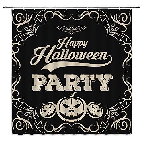 Happy Halloween Duschvorhang Fledermaus mit Kürbis, Horror, Halloween, Festival, schwarzer Stoff, Badezimmerdekor-Set mit 12 Haken, 180 x 180 cm