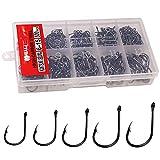 THKFISH 500 anzuelos de pesca con agujero en caja de aparejos de pesca, 10 tamaños pequeños, 6 # -15 #