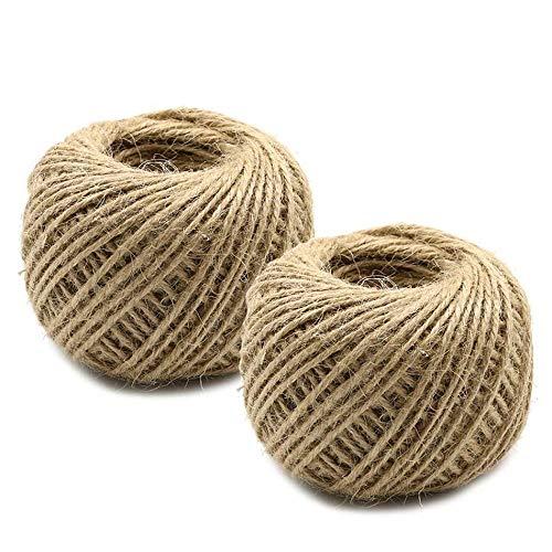 XYHJ Cuerda de arpillera Cuerda de Yute Natural Cuerda de arpillera Cuerda de cáñamo Envoltura de Regalo de Boda Cordones Paquete de Hilo 5-50M Tamaño 2-6mm