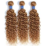PUROMI Brazilian Water Wave Hair 3 Bundles 100% Human Hair Weave #27 Honey Blonde Color Double Weft Thick Healthy ends Hair Extensions