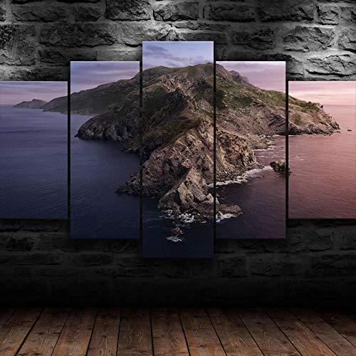 Cuadro En Lienzo, Imagen Impresión, Pintura Decoración, Cuadro Moderno En Lienzo 5 Piezas Xxl,125X60Cm,Naturaleza Isla Catalina Mac Murales Pared Hogar Decor