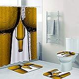 SHUOFUSH Funky Get Naked Beer Duschvorhang Set Skurrile Bierflasche Art Man Badezimmer Vorhang wasserdichte Badematte für Toilette Badewanne Dekor